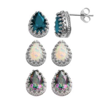 Sterling Silver Gemstone Crown Stud Earrings