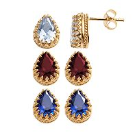 14k Gold Over Silver Gemstone Crown Stud Earrings