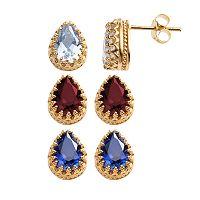 14k Gold Over Silver Gemstone Crown Stud Earrings