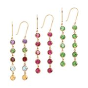 14k Gold Over Silver Gemstone Linear Drop Earrings