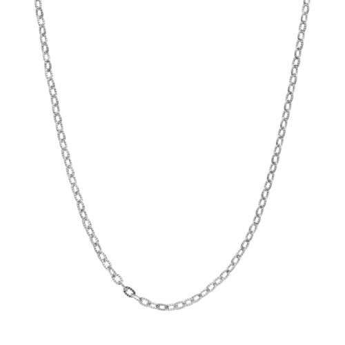 Blue La Rue Stainless Steel Rolo Chain Necklace