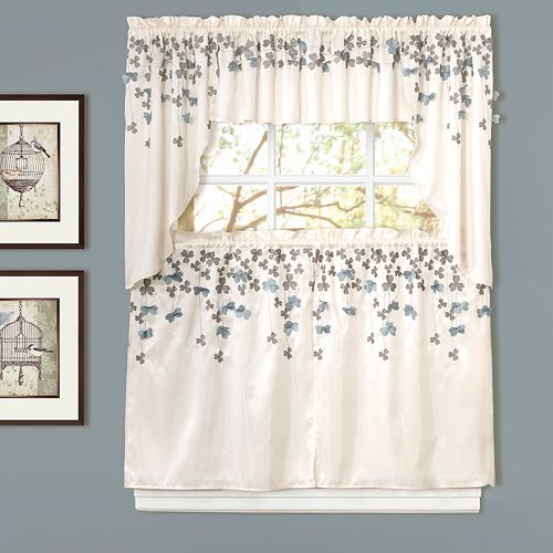 Decor Flower Drops Swag Tier Kitchen Window Curtains