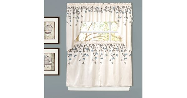 Rosemary Linen Kitchen Curtain Swag: Lush Decor Flower Drops Swag Tier Kitchen Curtains