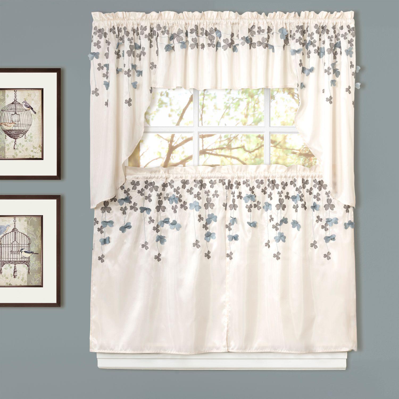 lush decor flower drops swag tier kitchen window curtains