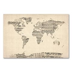 ''Old Sheet Music World Map'' Canvas Wall Art by Michael Tompsett