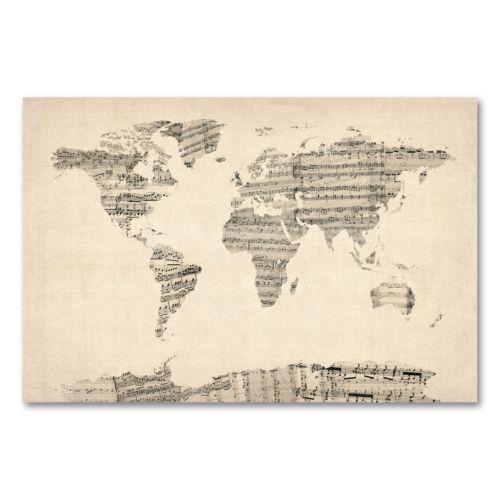 """""""Old Sheet Music World Map"""" Canvas Wall Art by Michael Tompsett"""