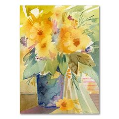 ''Bouquet in Yellow'' Canvas Wall Art by Sheila Golden