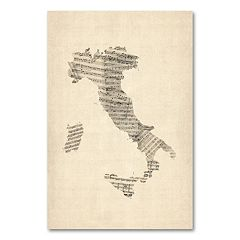 """Italy - Old Sheet Music Map"" Canvas Wall Art by Michael Tompsett"