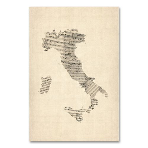 Italy Map Wall Art.Italy Old Sheet Music Map Canvas Wall Art By Michael Tompsett