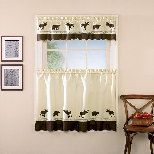 CHF You Forest Moose Bear Tier Kitchen Window Curtains