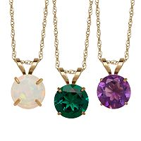 Everlasting Gold Gemstone 10k Gold Pendant Necklace