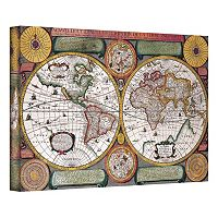 ''Description De La Terre Antique Map'' Canvas Wall Art