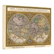 ''Orbis Terrae Compendiosa Descriptio Antique Map'' Canvas Wall Art