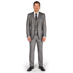 Billy London Slim-Fit Sharkskin Charcoal Suit Separates - Men