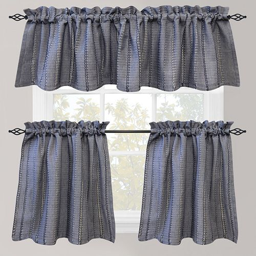 Park B Smith Eyelet Chambray Tier Kitchen Window Curtains