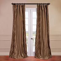 EFF Chai Embroidered Faux-Silk Window Panel