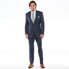 Chaps Black Label Classic-Fit Navy Wool-Blend Stretch Flat-Front Suit Separates - Men