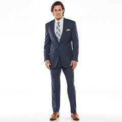 Chaps Black Label Classic-Fit Navy Wool-Blend Stretch Flat-Front Suit Separates - Men