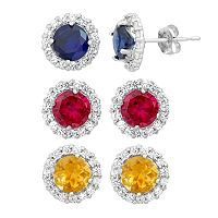 Gemstone & White Topaz 10k White Gold Halo Stud Earrings