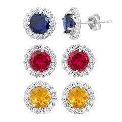 Gemstone & White Topaz 10k White Gold Halo Stud Earrings