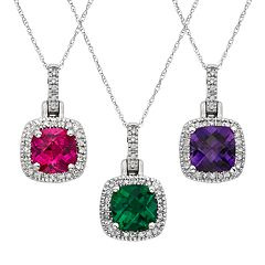 Gemstone & 1/8 Carat T.W. Diamond 10k White Gold Halo Pendant Necklace