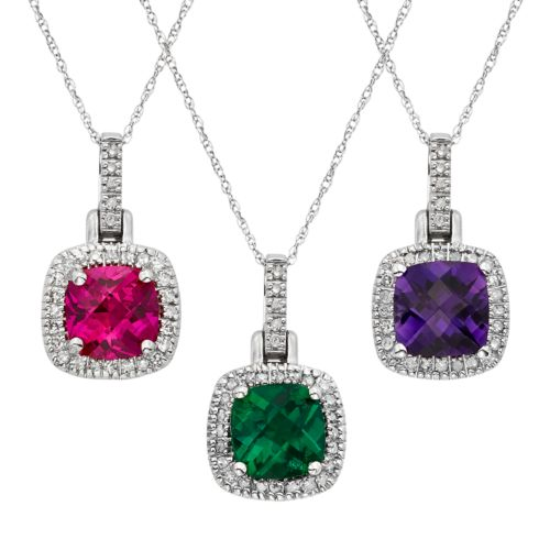 Gemstone & 1/8 Carat T.W. Diamond 10k White Gold Halo Pendant Necklace
