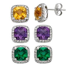 Gemstone & 1/6 Carat T.W. Diamond 10k White Gold Halo Button Stud Earrings