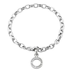 Giorgio Martello Sterling Silver Disc Charm Adjustable Bracelet