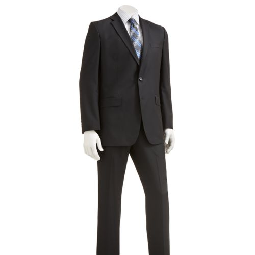 9® Slim-Fit Striped Black Suit Separates - Men