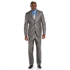 Steve Harvey Classic-Fit Gray Plaid Suit Separates - Men