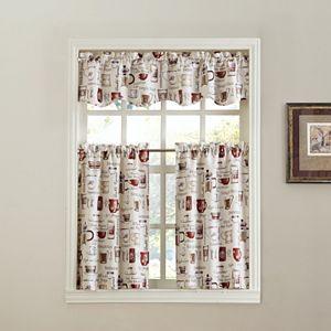 Espresso Coffee Tier Kitchen Window Curtains
