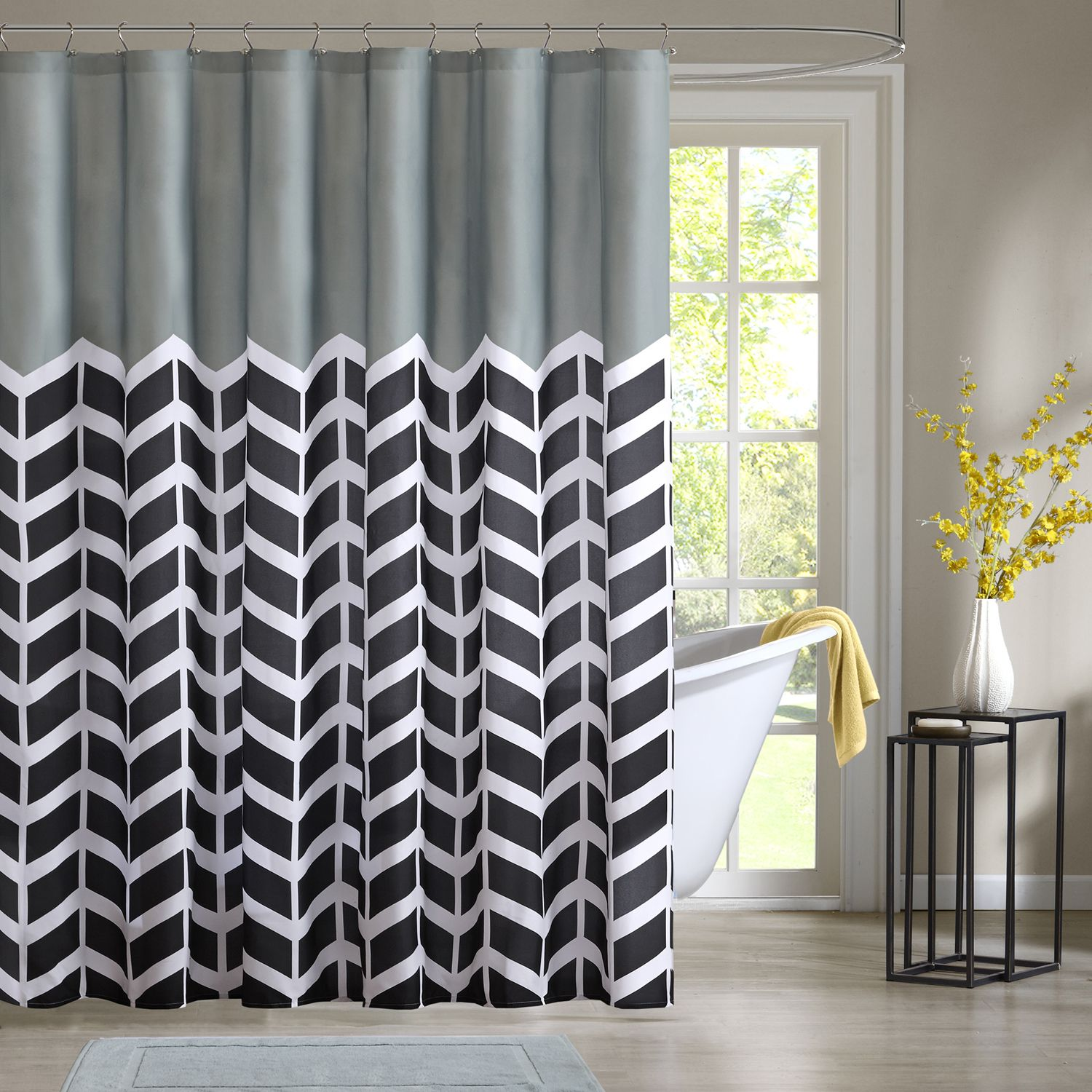 Perfect Intelligent Design Chevron Shower Curtain Collection