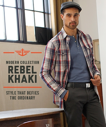 Man wearing Docker's Rebel Khakis with the slogan Modern Collection Rebel Khaki - Style That Defies The Ordinary