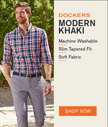 Man wearing Docker's Modern Khakis with the slogan Modern Khaki - machine washable, slim tapered fit, soft fabric