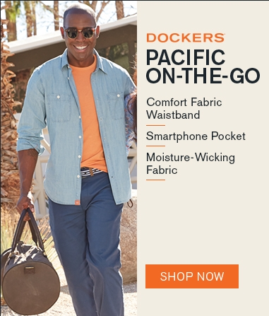 Man wearing Docker's Pacific-On-The-Go with the text comfort fabric waistband, smartphone pocket, moisture wicking fabric