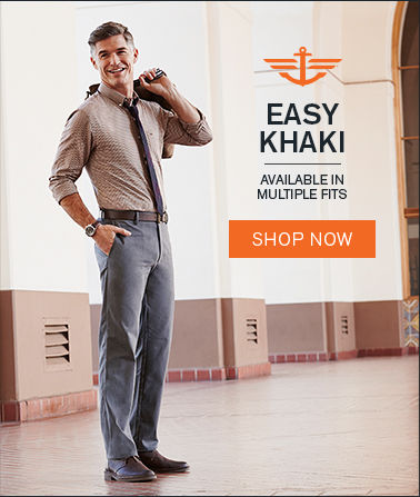 Man wearing Docker's Easy Khakis with the slogan Easy Khaki - available in multiple fits