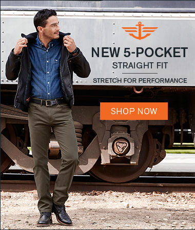 Man wearing Docker's New 5-Pocket Straight Fit with the text stretch for performance
