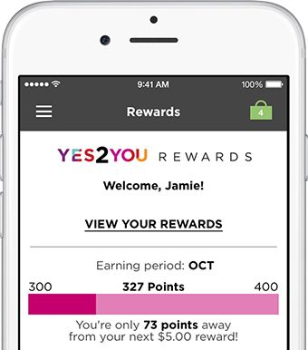 Yes2You Rewards section visible on smartphone