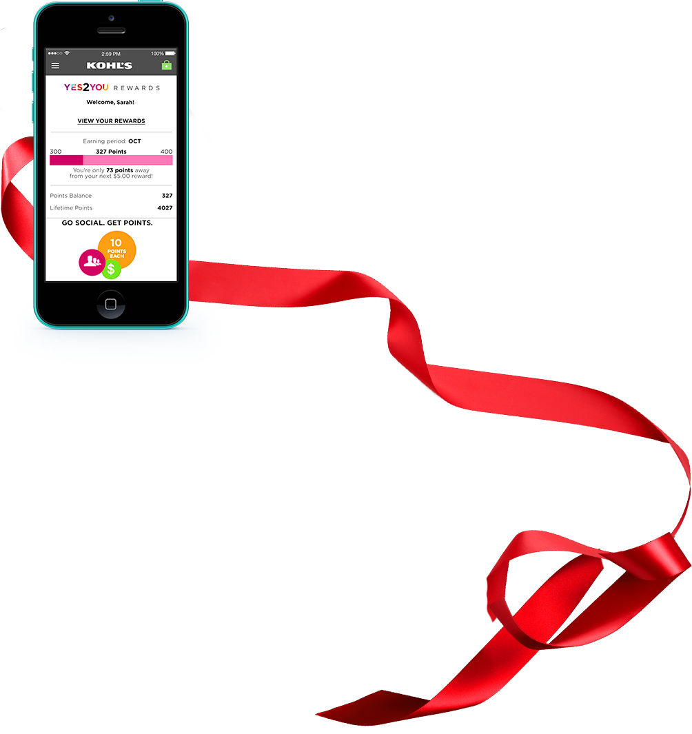 Red iPhone 5c Viewing Yes2You Rewards® in the Kohl's App