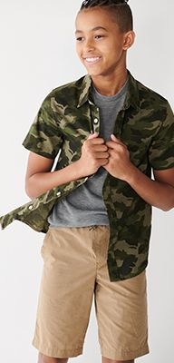 boys green camo zipup hoodie