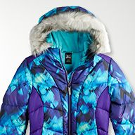girls teal and purple winter puffer jacket