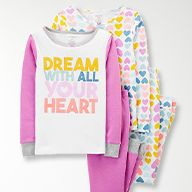 girls pj sets with heart pattern