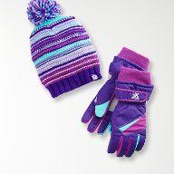 girls purple winter hat and gloves
