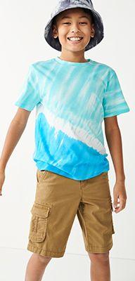 boys tie-dye top, cargo shorts, fishing hat