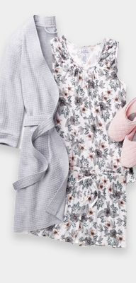 women's floral print nightgown and gray robe