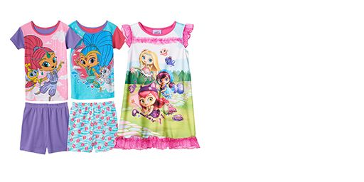 licesened character pajamas for girls