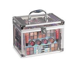 box of eye shadow, lip gloss, other makeup