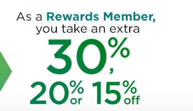 As a Rewards Member, you take an extra 30%, 20% or 15% off your purchase.
