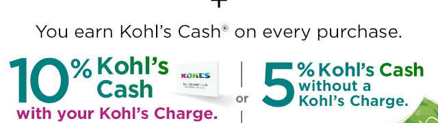 You earn Kohl's Cash on every purchase. 10% Kohl's Cash with a Kohl's Charge. or 5% Kohl's Cash without a Kohl's Charge.