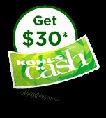 Get thirty dollars in kohls cash